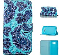 Blue Flower  Pattern PU Leather Painted Phone Case For Samsung Galaxy G360/G530/G357/G850F
