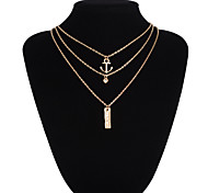 Anchor Pendant Multilayer Three Chain Necklace