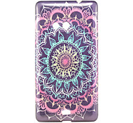 Black Flower Pattern Glitter Powder TPU Soft Back Cover for Nokia N535