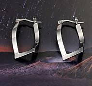 European  fashion U-curved titanium steel diamond  Silver  Hoop Earrings Wedding / Party / Daily / Casual 2pcs