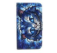 blauwe kat patroon pu lederen tas met standaard voor de Samsung Galaxy S3 mini i8190 / S4 mini i9190 / S5 mini