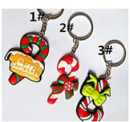 Cute Christmas Crutches Style Keychain with Soft Plastic Material(1pc)