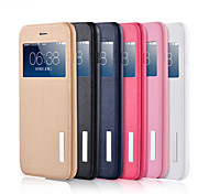 New Fashion Contracted PU + TPU + PC View Window Flip Leather Case with Stand for Iphone 6/6s plus(Assorted colors)