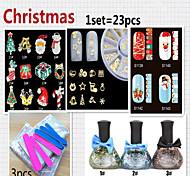 Christmas Exquisite Suit Of Armor Polish Nail Stickers Nail Metal Ornament(23pcs/pcs)