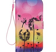 Black Dandelion Painted PU Phone Case for iphone5C
