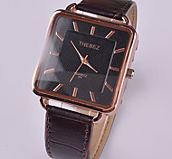 Men Square Surface Waterproof Leather Watch Design
