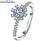 Band Rings Sterling Silver Zircon Round Elegant Silver 26 Jewelry Wedding Party Daily Casual 1pc