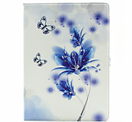 Blue Butterfly Flower Pattern Diamond Inlay Pattern PU Leather Full Body Case With Stand for iPad Pro
