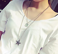 European Style Retro Fashion Star Double Long Necklace