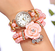 YILISHA ® Girls' Beads Bangle Bracelet Band Watches Round Dial Quartz Dress Watches Flower Rhinestone Jewelry Watch