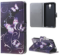 Purple Butterfly Wallet Leather Stand Case for BLU Life X8