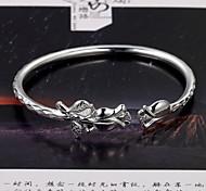 moda rosas simples de apertura de mil pulsera de plata fina S999
