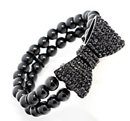 Black Crystal Bowknot Elastic Bead Strand Bracelet