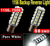 2X White Car RV 1156 BA15S 68-SMD Tail Backup Reverse LED Light bulbs 1141 1156A