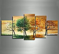 4 Época modernas pinturas a óleo da paisagem fotos de árvores pintadas à mão em canvas 5pcs / set sem moldura
