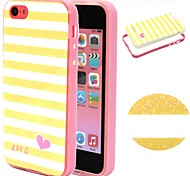 2-in-1 Yellow White Lattice Pattern TPU Back Cover + PC Bumper Shockproof Soft Case For iPhone 5C