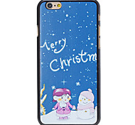 Christmas Style Kids and Snowman Pattern PC Hard Back Cover for iPhone 6 Plus