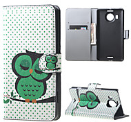 Sleeping Owl on the Branch  Wallet PU Leather Stand Case for  Microsoft Nokia Lumia 950XL N950XL