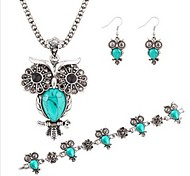 Hot 3 Color  Fashion Turquoise Owl Pendant Necklace Owl Drop Earring Wedding Jewelry Set