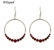 D Exceed Women Silver Chandelier Fish Hoop Earrings Oversized Red Crystal Jewelry Earrings Fashion Big Earrings