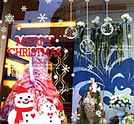 Merry Christmas Show Window Decoration Gifts PVC Glass Static Sticker