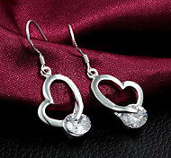 "Fashion ""Heart"" 925 Siliver Zircon Stone Earring Stud Earrings For Woman&Lady"
