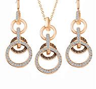 Hot Fashion Vintage Circle Pendant Necklace Drop Earring Jewelry Set