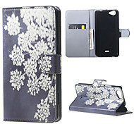 White Flowers Card Holder Leather Stand Case for Wiko Rainbow Jam