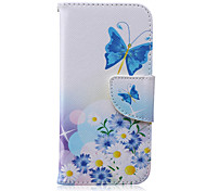 Blue Butterfly Pattern PU Leather Full Body Cover with Stand for iPhone 6/iPhone 6s
