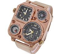Men's Fashion Dual Time Zones Gold Steel Quartz Watch