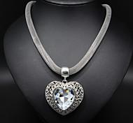 Femme Colliers Déclaration Forme de Coeur Alliage Cœur Argent Bijoux Pour