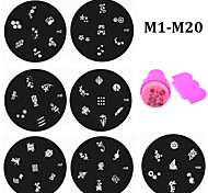 - Finger / Zehe - Andere Dekorationen - Metall - 20pcs nail plates+1set nail stamper and scraper Stück - 5.5cm for dia cm