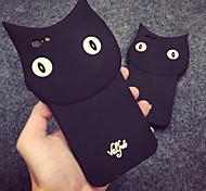 Black Cool Cat Silica Gel Soft Phone Case for iPhone 6 Plus/6S Plus