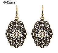 D Exceed Women New European Fashion Earrings Brand Design Gold Filled Carved Flower Chandelier Long Vintage Earrings