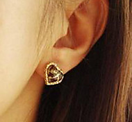 Vintage Individuality Leopard Print Heart Alloy Earring