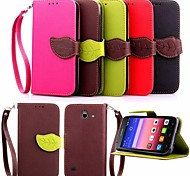Leaf Pattern PU Wallet Leather Case with Hand Line for Huawei P8 Lite/P8/G6/G7/Y550(Assorted Colors)