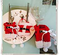 2 pcs decorações de natal feliz de Santa talheres bolsos titulares jantar festas decoração