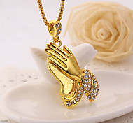 Exquisite Palm Set Drill High Polished Shape Pendant Necklace