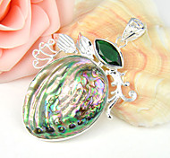 moda in avanti lucidi abalone naturale verde quarzo gemma 925 ciondoli in argento per collane di nozze 1pc quotidiano