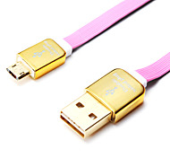 1m 3.28 pies de aluminio + pvc cable de datos USB 2.0 para el teléfono móvil de Samsung (colores surtidos)