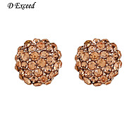 D Exceed Champagne Diamond Gold Plated Round Stud for Ladies Best Christmas Earring Free Shipping