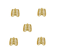 10pcs Rib Cage Charms 3D Metal Alloy 7mm x8mm Nail Art Decoration