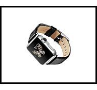 banda de auténtico lujo reloj de cuero pulsera correa de muñeca de reemplazo banda con cierre de adaptador para el reloj de manzana 38mm /