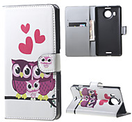 Owls and Hearts Wallet PU Leather Stand Case for  Microsoft Nokia Lumia 950XL N950XL