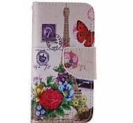 Flower and the Eiffel Tower Pattern Cell Phone Leather For iPhone 5/5S