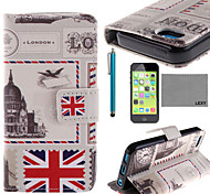 LEXY® UK Envelope Pattern PU Full Body Leather Case with Screen Protector and Stylus for iPhone 5C