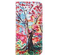 Teste padrão da árvore de couro pu caso de corpo inteiro com slot para cartão para o iphone 6 6s plus / iphone mais