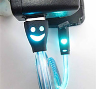 Smiling Face Optical Luminescence Smart Phone Charging Line Android Line Universal USB Cables