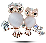 The New European Lady Opal Owl Brooch