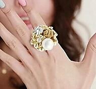 Rose Pearl Diamond Flower Decoration Ring